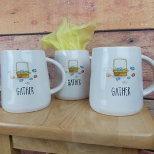 Rae Dunn mugs 3x Gather NWOT Easter